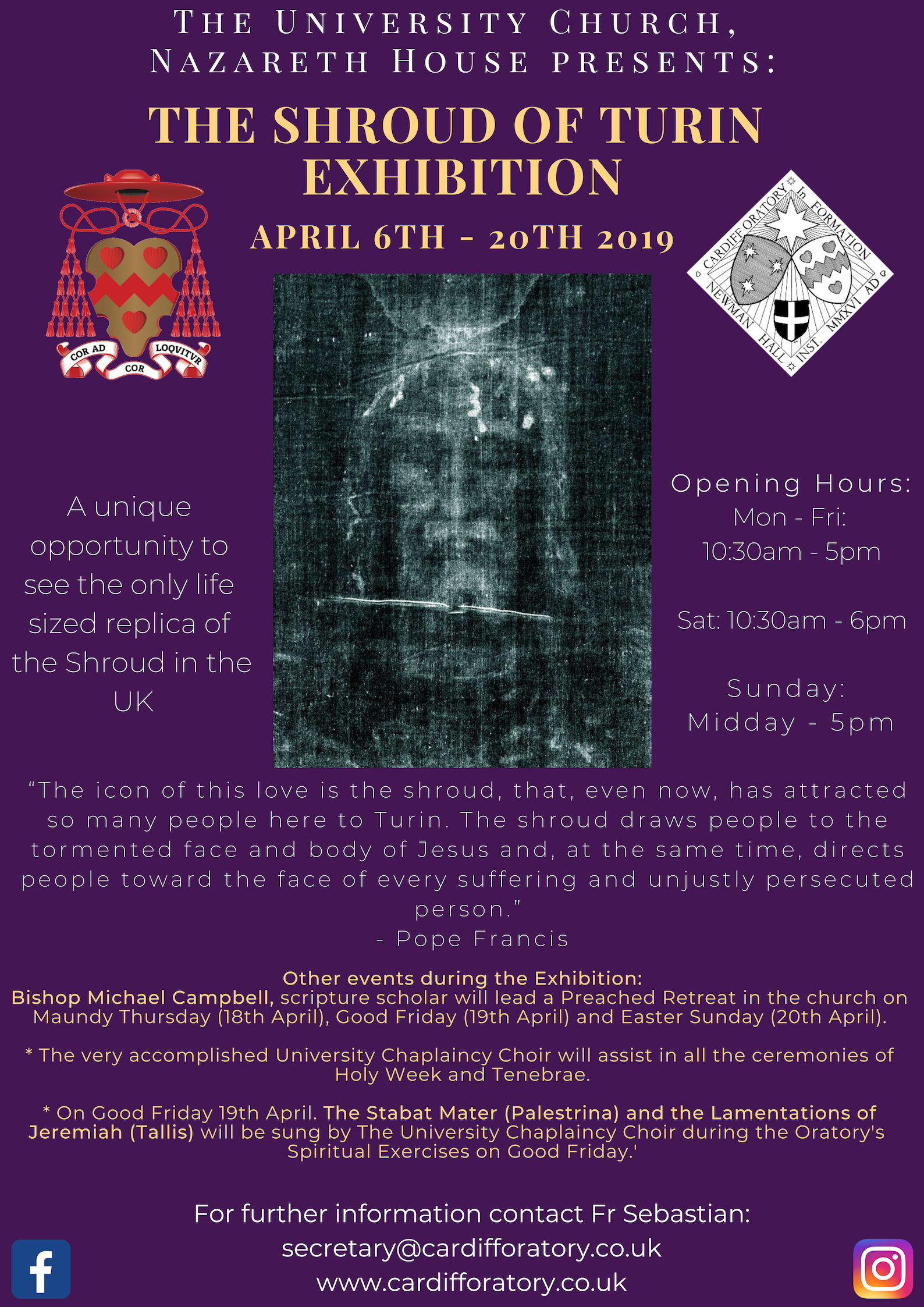 Cardiff Turin Shroud Exhibition, 2019 – The Cardiff Oratory